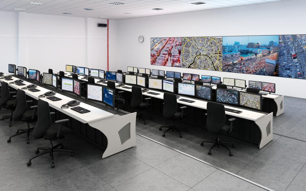 Диспетчерская мебель в центре управления дорожным движением по городу Сочи